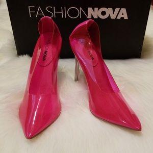Fashion Nova Pink Clear Heels!